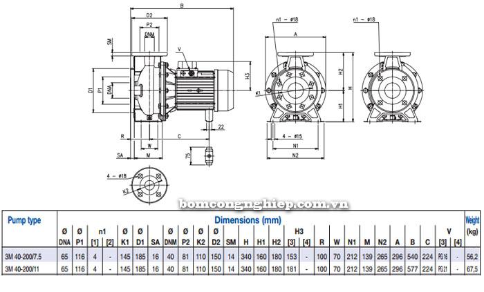Máy bơm Ebara 3M 40-200 bảng thông số kích thước