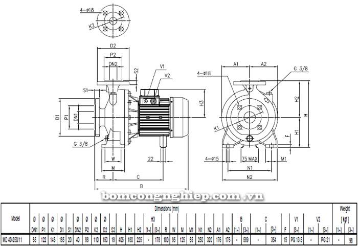 Máy bơm nước EBARA MD 40-250 bảng thông số kích thước