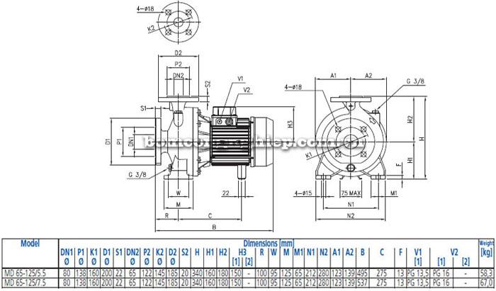 Máy bơm nước EBARA MD 65-125 bảng thông số kích thước