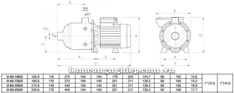 Máy bơm nước Pentax Ultra 9S bảng thông số kích thước