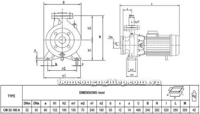 Máy bơm nước Pentax CM 32-160A bảng thông số kích thước