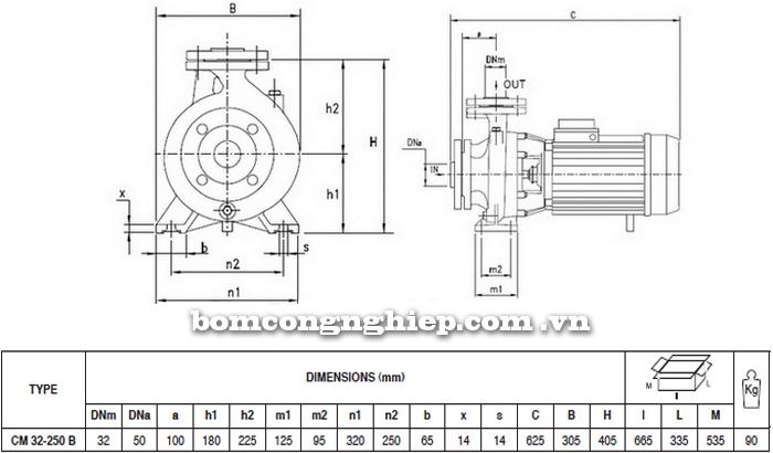 Máy bơm nước Pentax CM 32-250B bảng thông số kích thước