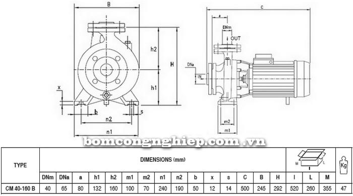 Máy bơm nước Pentax CM 40-160B bảng thông số kích thước