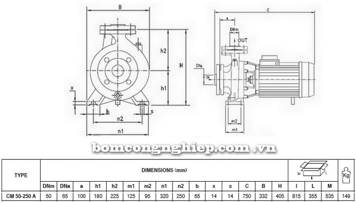 Máy bơm nước Pentax CM 50-250A bảng thông số kích thước