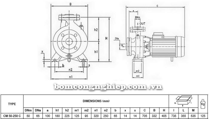 Máy bơm nước Pentax CM 50-250C bảng thông số kích thước