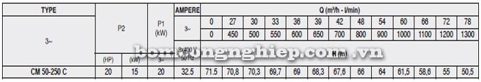 Máy bơm nước Pentax CM 50-250C bảng thông số kỹ thuật