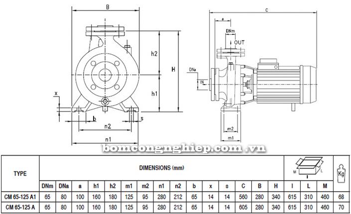 Máy bơm nước Pentax CM 65-125A bảng thông số kích thước