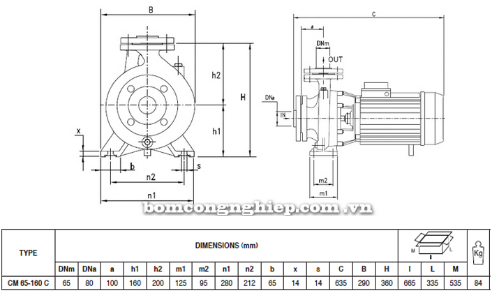 Máy bơm nước Pentax CM 65-160C bảng thông số kích thước