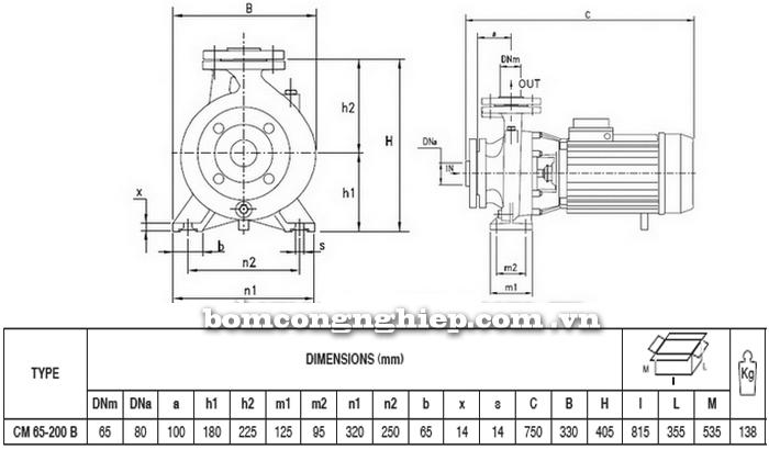 Máy bơm nước Pentax CM 65-200B bảng thông số kích thước