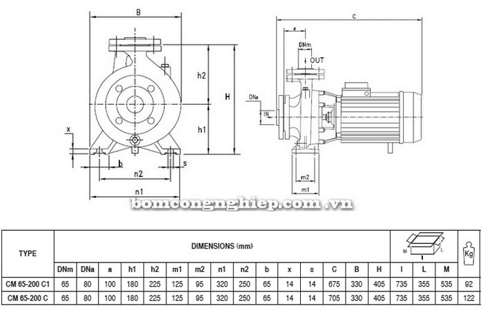 Máy bơm nước Pentax CM 65-200C bảng thông số kích thước