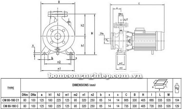 Máy bơm nước Pentax CM 80-160C bảng thông số kích thước