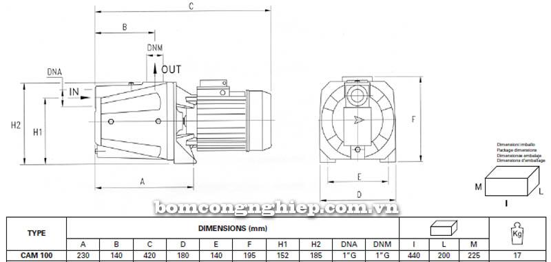Máy bơm nước bán chân không Pentax CAM 100 bảng thông số kích thước