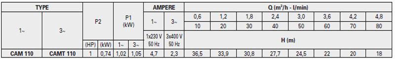Máy bơm nước bán chân không Pentax CAM 110 bảng thông số kỹ thuật