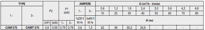 Máy bơm nước bán chân không Pentax CAM 575 bảng thông số kỹ thuật