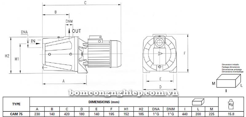Máy bơm nước bán chân không Pentax CAM 75 bảng thông số kích thước
