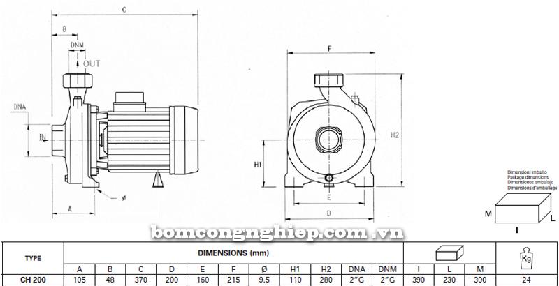 Máy bơm nước Ly tâm Pentax CH-200 bảng thông số kích thước