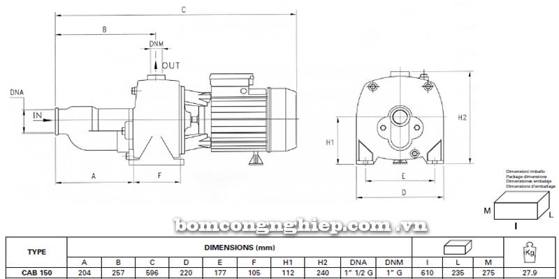 Máy bơm nước Pentax CAB-150 bảng thông số kích thước