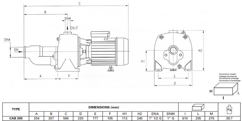 Máy bơm nước Pentax CAB-200 bảng thông số kích thước