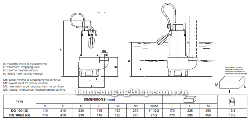 Máy bơm nước thải Pentax DG 100 bảng thông số kích thước