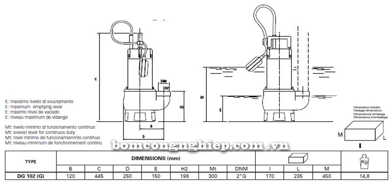 Máy bơm nước thải Pentax DG 102 bảng thông số kích thước