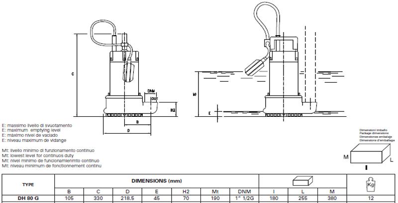 Máy bơm nước thải Pentax DH 80 bảng thông số kích thước