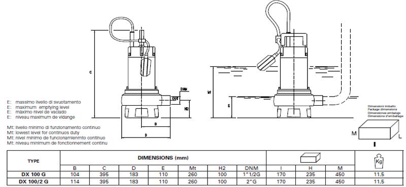 Máy bơm nước thải Pentax DX 100 bảng thông số kích thước