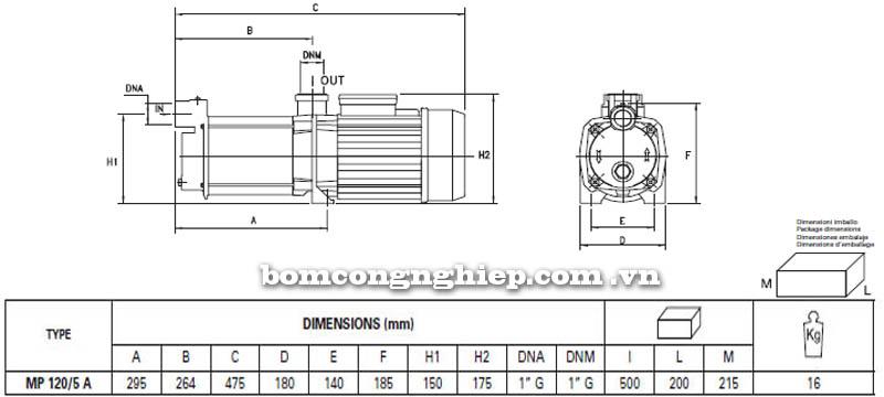 Máy bơm nước trục ngang Pentax MP 120/5 A bảng thông số kích thước