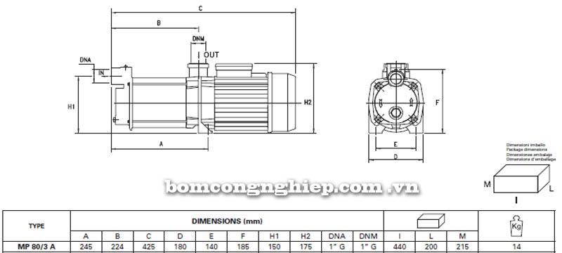 Máy bơm nước trục ngang Pentax MP 80/3 A bảng thông số kích thước
