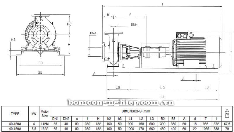 Máy bơm nước trục rời Pentax CA 40-160A bảng thông số kích thước