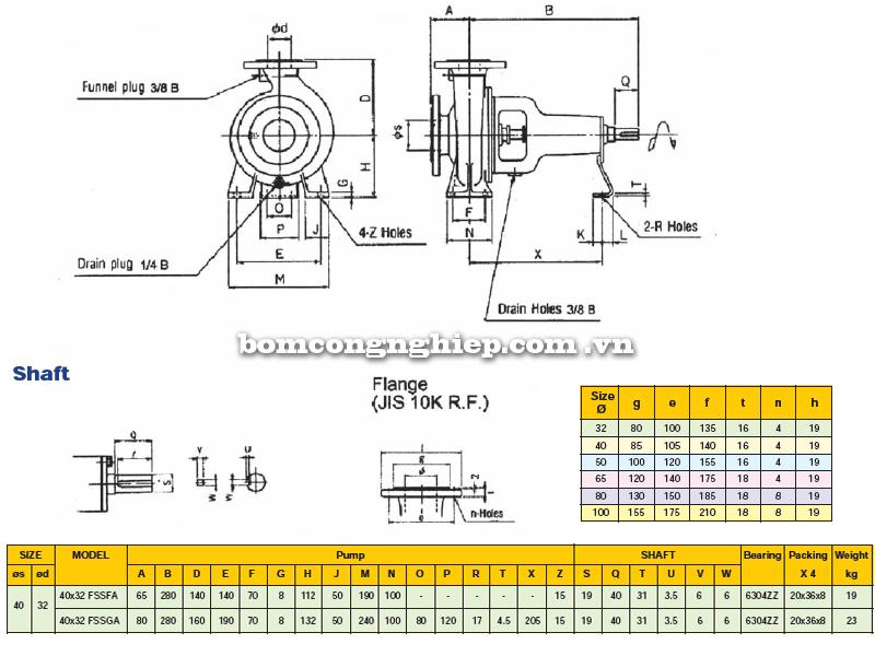 Máy bơm trục rời Ebara FSSA 40 x 32  bảng thông số kích thước