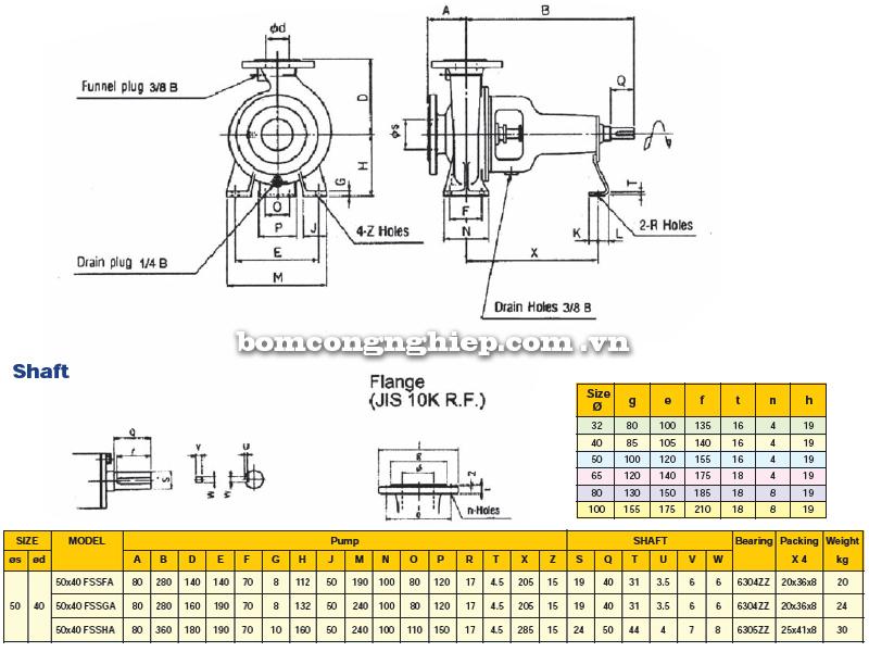 Máy bơm trục rời Ebara FSSA 50 x 40 bảng thông số kích thước