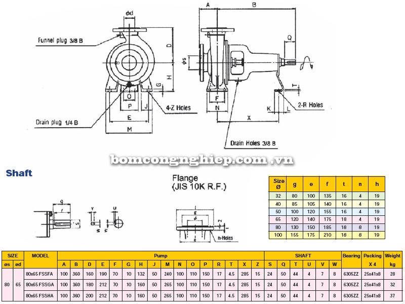 Máy bơm trục rời Ebara FSSA 80 x 65 bảng thông số kích thước