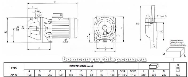 Máy bơm hút giếng Pentax AP 75 bảng thông số kích thước
