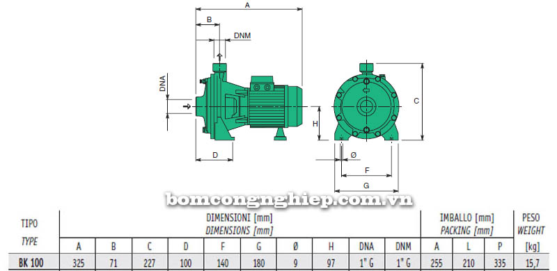 Máy bơm nước cao áp Sealand BK 100 bảng thông số kích thước