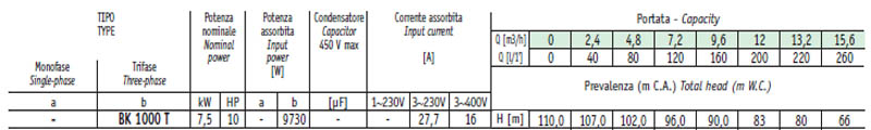Máy bơm nước cao áp Sealand BK 1000 bảng thông số kỹ thuật