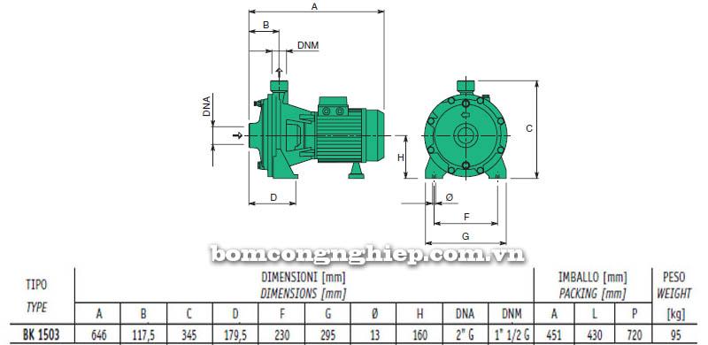 Máy bơm nước cao áp Sealand BK 1503 bảng thông số kích thước
