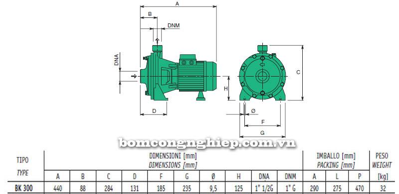 Máy bơm nước cao áp Sealand BK 300 bảng thông số kích thước