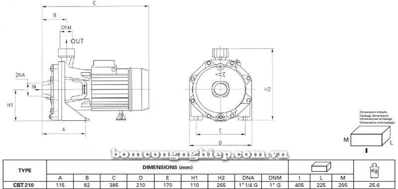 Máy bơm nước ly tâm Pentax CBT 210 bảng thông số kích thước
