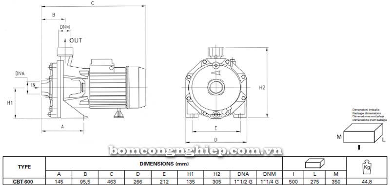 Máy bơm nước ly tâm Pentax CBT 600 bảng thông số kích thước