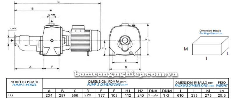 Máy bơm nước Matra TG-JET bảng thông số kích thước