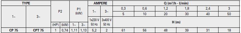 Máy bơm nước Pentax CP 75 bảng thông số kỹ thuật