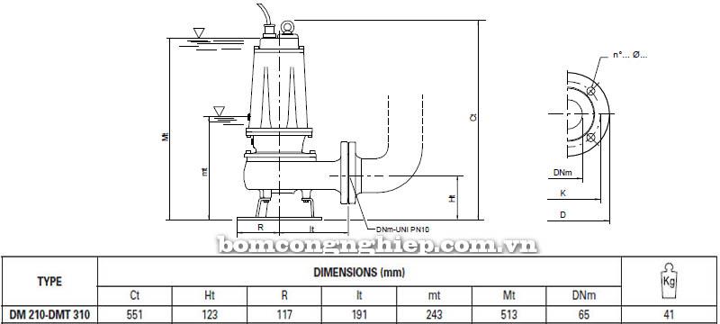 Máy bơm nước thải Pentax DMT 310 bảng thông số kích thước
