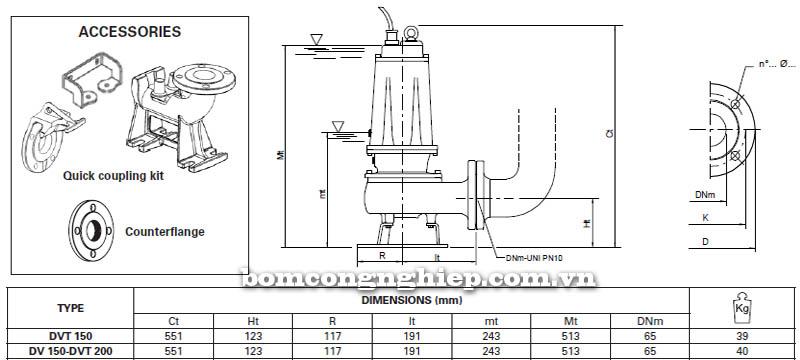 Máy bơm nước thải Pentax DV-DVT 150 bảng thông số kích thước
