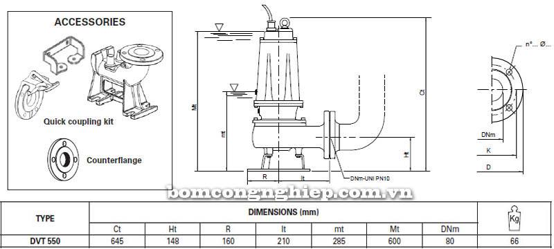 Máy bơm nước thải Pentax DVT 550 bảng thông số kích thước