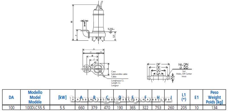 Máy bơm chìm nước thải Ebara 100DLC bảng thông  số kích thước
