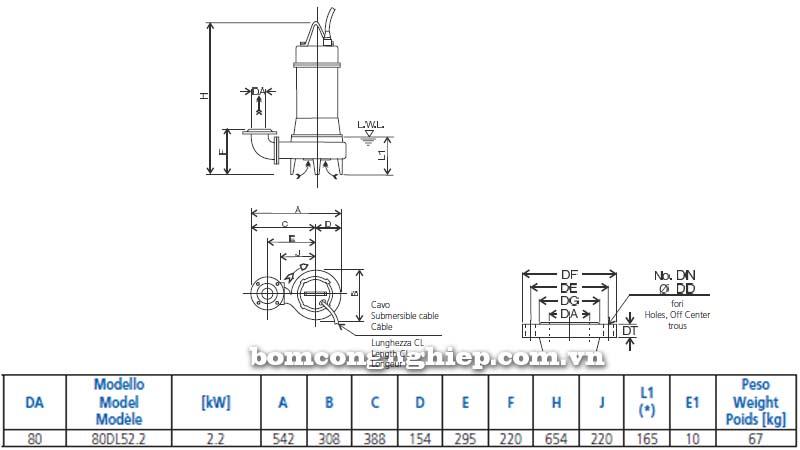 Máy bơm chìm nước thải Ebara 80DL5 bảng thông số kích thước