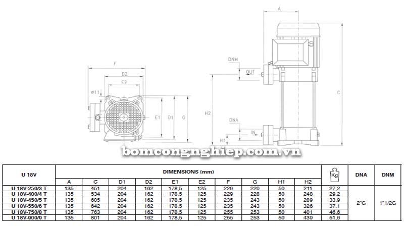 Máy bơm trục đứng Pentax 18V bảng thông số kích thước