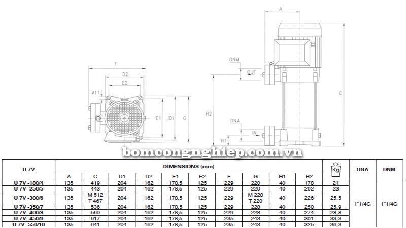Máy bơm trục đứng Pentax 7V bảng thông số kích thước