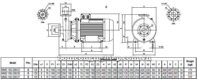 Máy bơm nước Ebara MMD 100 bảng thông số kích thước