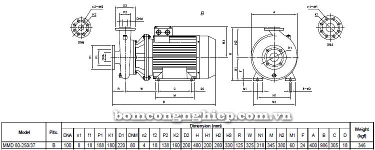 Máy bơm nước Ebara MMD 80-250 bảng thông số kích thước